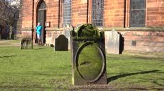Penrith England Parish church cemetery old headstone 4K Stock Footage