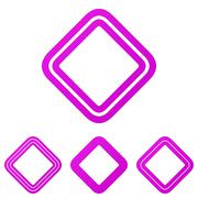 Magenta line square logo design set Stock Illustration