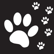 Vector silhouette dog paw. - stock illustration
