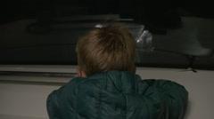 Child traveling in underground Stock Footage