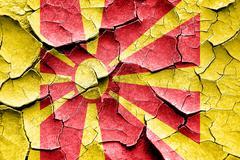 Grunge cracked Macedonia flag - stock illustration