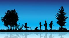 Vector silhouette of children. - stock illustration