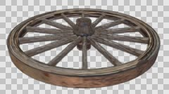 Old Weathered Worn Wooden Wagon Wheel Facing Up Spinning with Alpha Channel Stock Footage