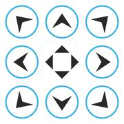 Circled Arrowheads Vector Flat Icon Set Stock Illustration