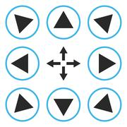 Circled Directions Vector Flat Icon Set - stock illustration