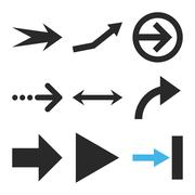 Direction Arrows Vector Flat Icon Set Stock Illustration