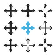Expand Arrows Vector Flat Icon Set - stock illustration