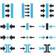 Pressure Horizontal Vector Flat Icon Set - stock illustration