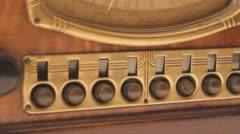 Old Vintage Antique Wooden Vintage Radio - stock footage
