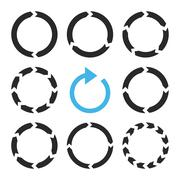 Rotation Direction Vector Flat Icon Set - stock illustration