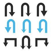 Turn Back Arrows Vector Flat Icon Set - stock illustration