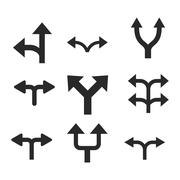 Divide Arrows Vector Flat Icon Set Stock Illustration