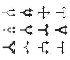 Junction Arrows Right Vector Flat Icon Set Stock Illustration