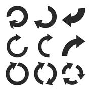 Rotate Clockwise Vector Flat Icon Set Stock Illustration