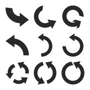 Rotate Counterclockwise Vector Flat Icon Set - stock illustration