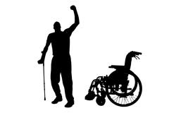 Vector silhouette of disabled man. - stock illustration