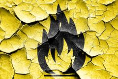 Grunge cracked Flammable hazard sign Stock Illustration