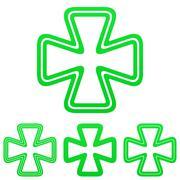 Green line luck logo design set Stock Illustration