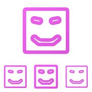 Magenta line happy logo design set Stock Illustration