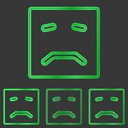 Green metal sadness logo design set - stock illustration
