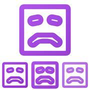 Purple line sadness logo design set - stock illustration