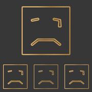 Bronze squared crying face logo set Stock Illustration