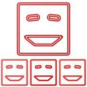 Red line laugh logo design set - stock illustration