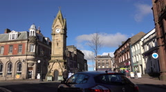 Penrith England town center clock tower 4K Stock Footage