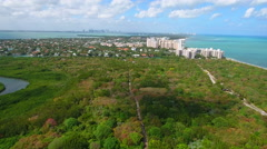 Aerial drone video Key Biscayne FL Stock Footage