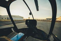 Helicopter cockpit with instrument panel - stock photo