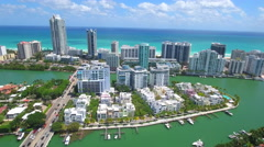 Aerial drone footage Indian Creek Miami Beach Stock Footage