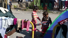 Refugees, Lesvos, Greece. November 2015. Children of refugees are playing. Stock Footage