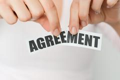Cancel an agreement or dismiss a contract concept - stock photo