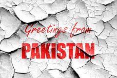 Grunge cracked Greetings from pakistan Stock Illustration