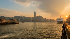 HK Ferry Harbor Hong Kong sunsdown Stock Footage