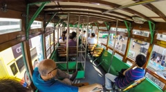 Ding Ding tram Central Kong Kong Stock Footage