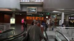 Passengers using the escalator at Atocha station, Madrid Stock Footage