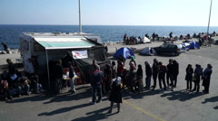 Refugees, Lesvos, Greece. November 2015. Waiting for the ferry to Athens. Stock Footage