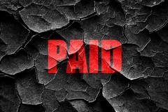 Grunge cracked paid sign background - stock illustration