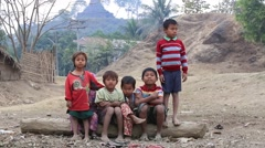 Poor children on the street , Myanmar . Poverty is a major issue in Burma Stock Footage
