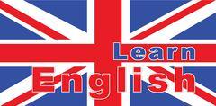 Text learn english on British flag Stock Illustration