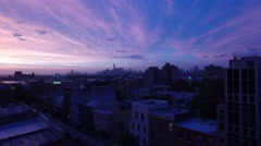 An aerial video of Brooklyn and Manhattan, New York City, 4K UHD at Sunset Stock Footage
