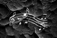 Grunge cracked Music note background - stock illustration