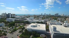 Aerial drone video of Miami Beach rooftop parking lots Stock Footage
