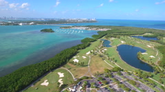 Aerial video of Crandon Park golf and marina Stock Footage