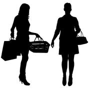 Vector silhouettes of women. - stock illustration