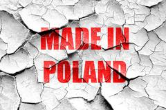 Grunge cracked Made in poland - stock illustration