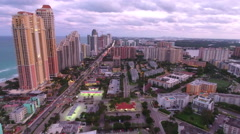 Aerial drone video Sunny Isles Beach at dusk Stock Footage