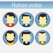 Asian male avatar flat Stock Illustration