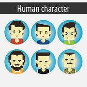 Set male Asian character Stock Illustration